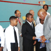 Judge Boo Patterson hands out books to the Young Men.
